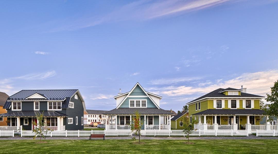 Colourful park houses