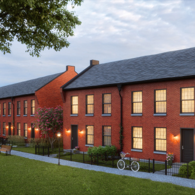Brick rowhouse rendering