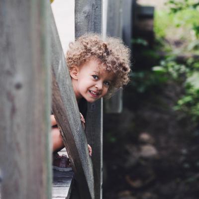 Cute kid on bridge