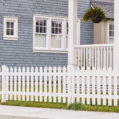 Picket fence blue house