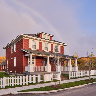 Red house and rainbow